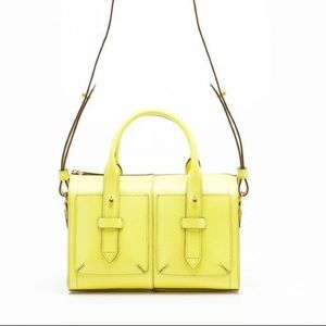 Genuine leather structured crossbody bag